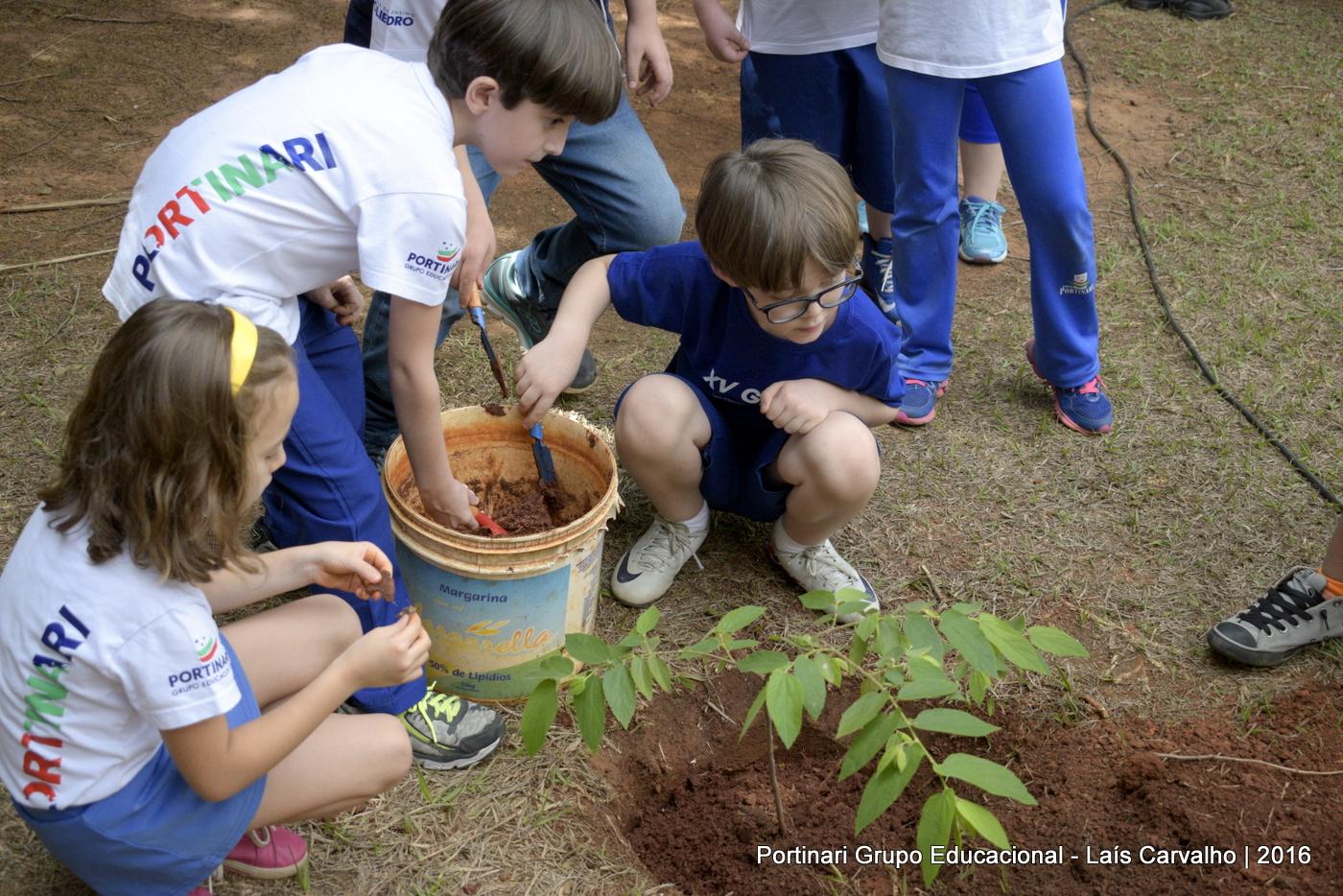 Dia da árvore: 2º ano planta mudas no Recanto Portinari
